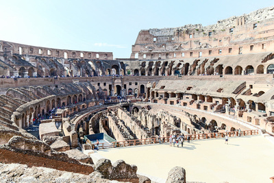 The Colosseum arena showing the hypogeum's partially restored floor
