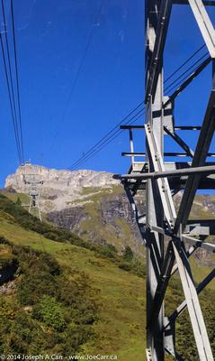 Looking toward Birg gondola station as we cross over a tower