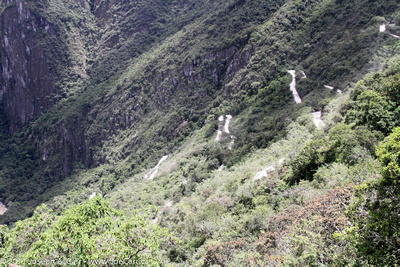 Switchback road up the mountain to Machu Picchu