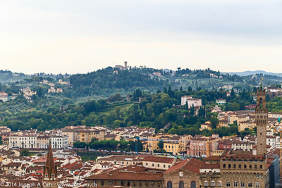 View of Florence and the Tuscan hills from the top of the Duomo