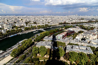 The shadow of the tower, the Seine River and Paris