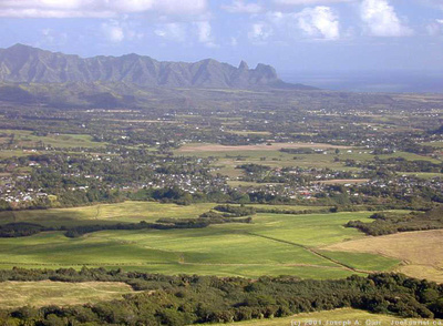 Flying over farmland behind Lihue - upper Wailua River, Sleeping Giant