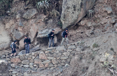 Hikers on the start of the steep Inca Trail