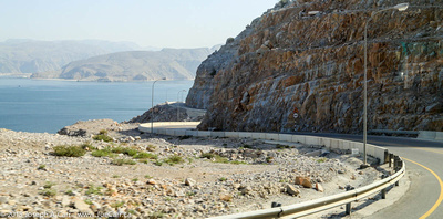 The steep road along the Musandam coastline