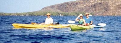 Roger, Doug & Kathy in kayaks in Kealakekua Bay