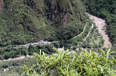 Train running through the valley below