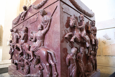 Large porphyry marble coffin made for Roman emperor Constantine's mother Helena