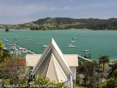 Whangaroa harbour & boats from Anglican church yard