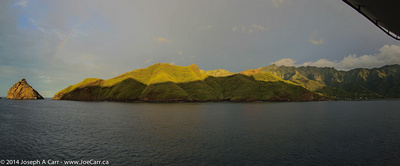 Our early morning arrival in Taiohae harbour, complete with rainbow