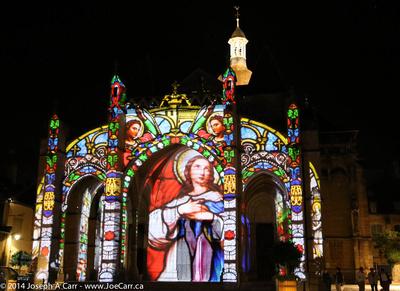Light show on the Basilica Notre Dame