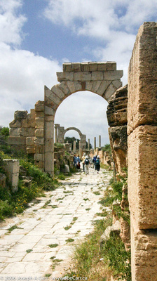 My group walking down the Roman road to the theatre