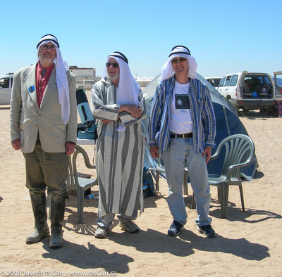 Patrick, Marvin and Joe wearing their Libyan clothing on Eclipse Day