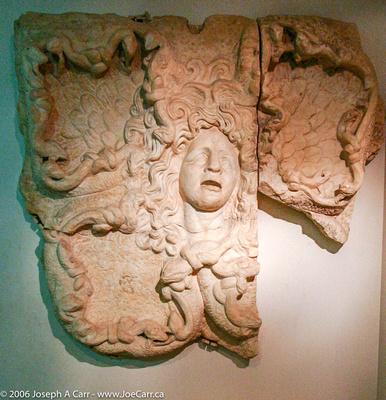 Stone carving of Medusa