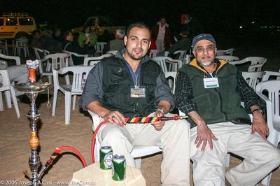 Ali and Mahmood Poonja, Bestway Tour organizers smoking the Water Pipe