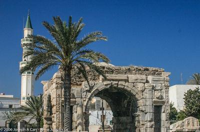 Roman Arch of Marcus Aurilius (AD 163-164) with Minaret tower