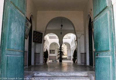 Inner courtyard in Old City building, copper doors