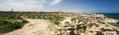 Wide angle of most of the city of Sabratha