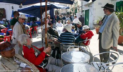 RASC Eclipse Group having refreshment in the Tripoli Souk