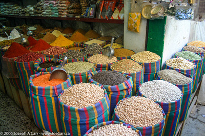 Beans, lentils and spices in the Tripoli Souk
