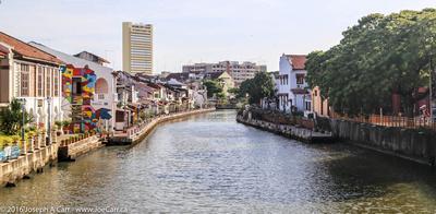 The river beside historic Dutch Square