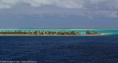 Fanning Island lagoon with both sides of the atoll visible