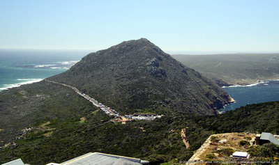Looking north, Atlantic Ocean to the left and False Bay to the right
