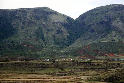 Settlements up against the mountains  in Transkei Province