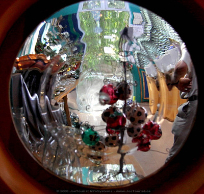 Looking through the porthole in gift shop
