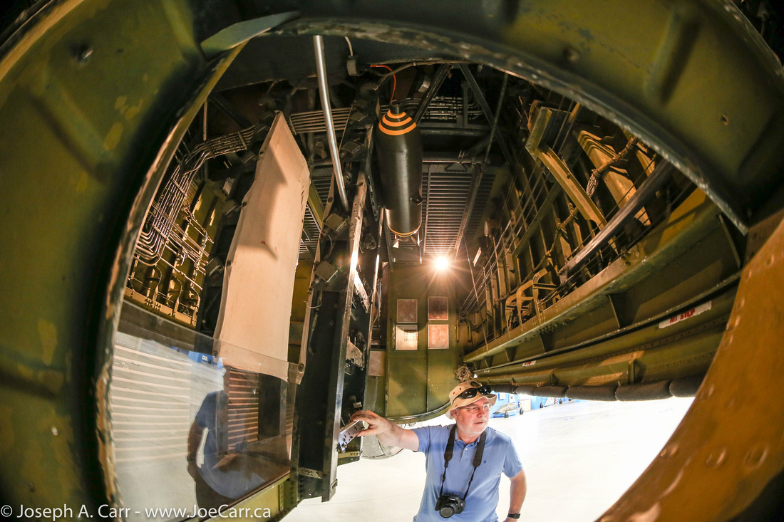 Inside the bomb bay of the Consolidated B-24J 'Liberator'