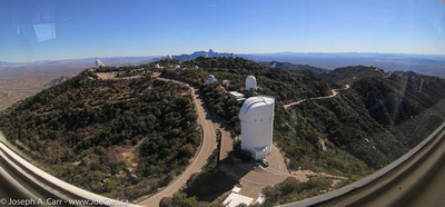 Fisheye view looking south along the Kitt Peak ridgeline showing many observatories