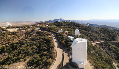 Looking south along the Kitt Peak ridgeline showing many observatories
