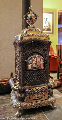 Ornate fireplace in Cody's house
