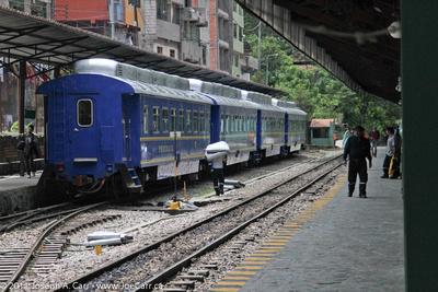 Machu Picchu train in station