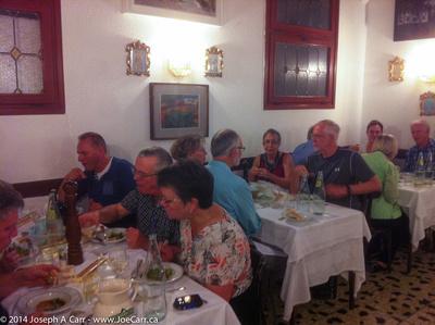 Group having dinner