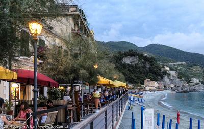 Beachside restaurants at dusk