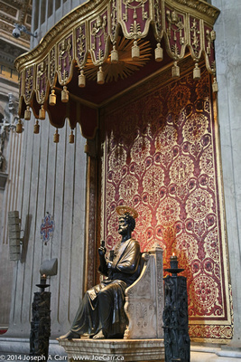 Bronze statue of St. Peter on an alabaster base