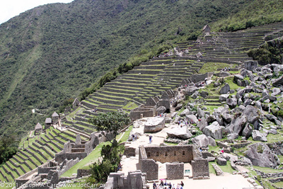 Agricultural terraces and quarry area