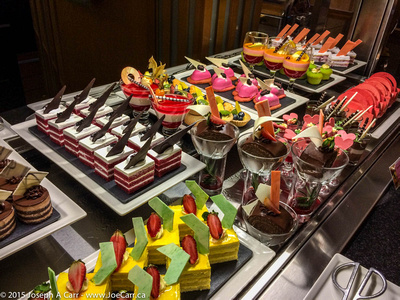 Dessert buffet in the restaurant