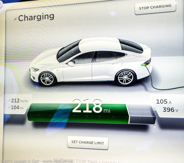 Charging screenshot showing rate of charge for Supercharger