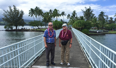 Joy and Joe on the Coconut Island bridge