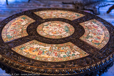 An inlaid carved table in the King's bedroom