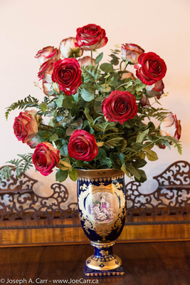 Roses in an ornate vase