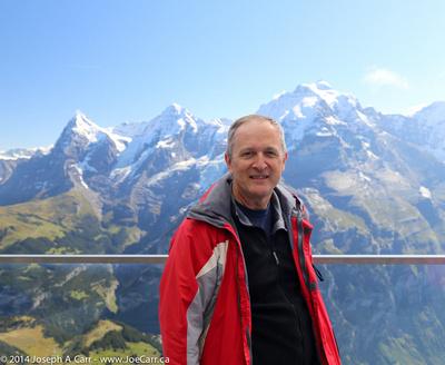 Joe on the Skyline Walk platform at Birg overlooking the Eiger, Mönch and Jungfrau peaks