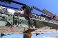 Engine, blades and winches of a Sikorsky CH-54A heavy lift transport helicopter