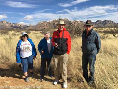 Diane Bell, Lauri Roche, John McDonald and Garry Sedun walking the fence line