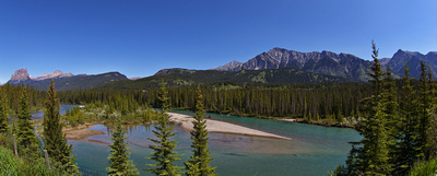 Castle Mountain, the Sawback Range, Mt Ishbel and the Bow River