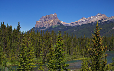 Castle Mountain, the Sawback Range and the Bow River