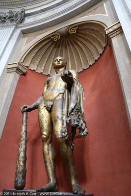 A gilded bronze statue of Hercules