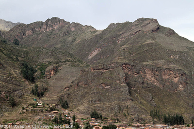 Incan terraced hills behind Pisac