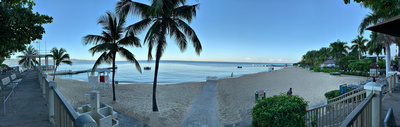 Panorama of the beach in the early morning light